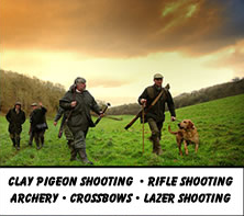 Clay pigeon shooting, Rifle shooting, Archery, Crossbows, Lazer shooting