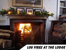 Log fires at the lodge